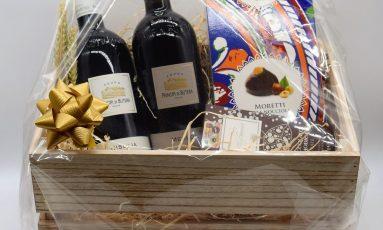 Cesta Sicilia con cioccolato, moretti alla nocciola e due ottimi vini siciliani