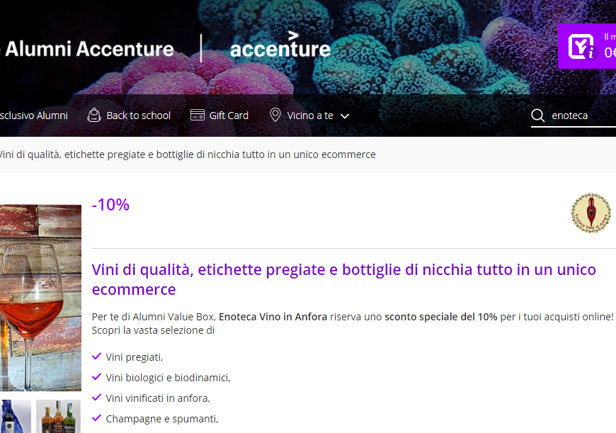 Catalogo vini in sconto per gli Alumni Accenture