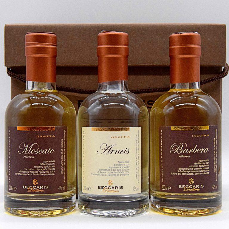 Kit degustazione grappe da 200ml (con astuccio) – Distilleria Beccaris